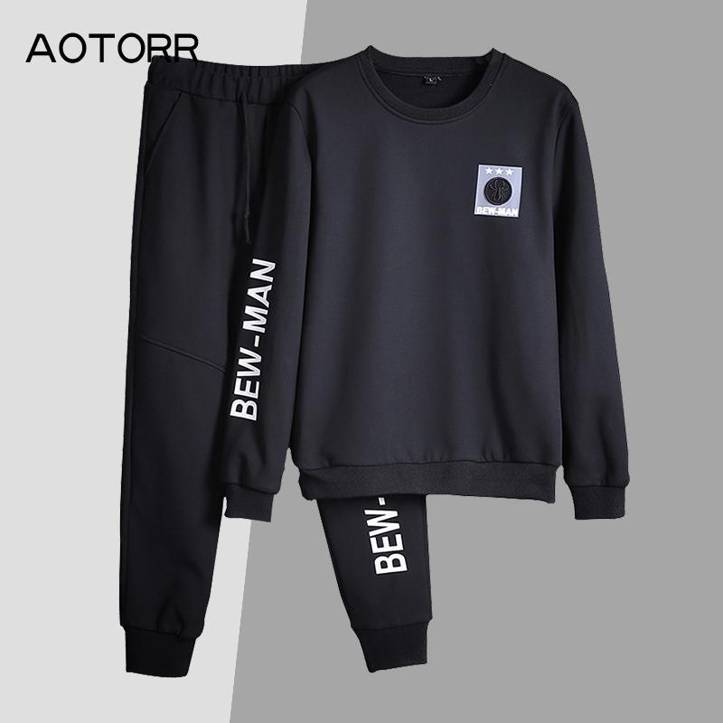 Nouveaux vêtements pour hommes Survêtements Deux Pièces 2019 Automne Automne Nouveaux Hoodies Sweats Ensembles Sportifs Hoodies + Pantalons 2pcs Ensembles