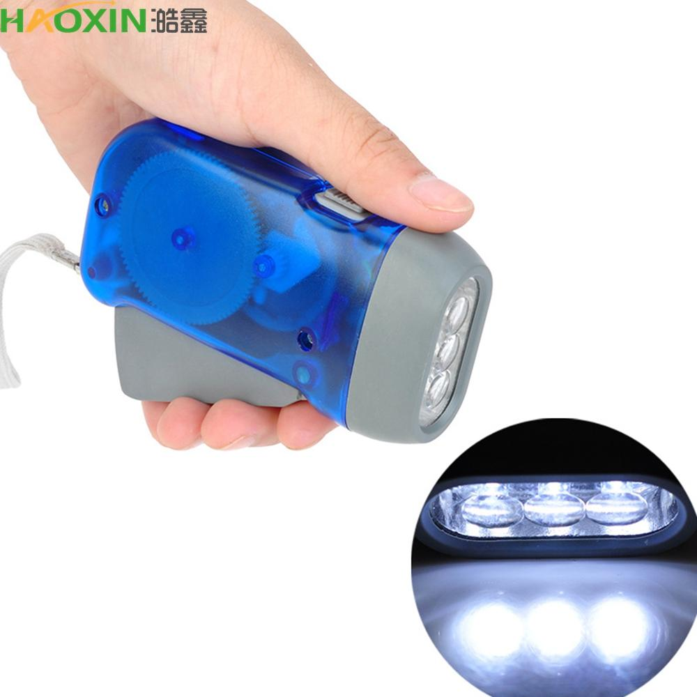 HaoXin Hand Crank Traveling Torch Light Battery-Free Camping Lights 3 LEDs Hand Pressing Flashlight Manual Generator Flashlight