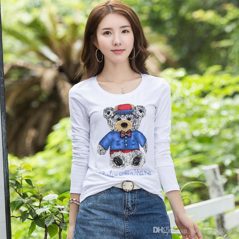 새로운 봄 긴 소매 여성의 코튼 티셔츠 여성의 가을 채널 티셔츠 겨울의 사무실 레이디 스팽글 만화 3D 티셔츠 탱크 탑스
