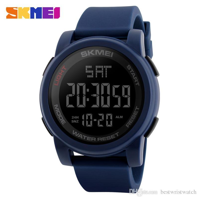 SKMEI Business Simple Watch Men PU Strap Multifunction LED Display Watches 5Bar Waterproof Digital Watch reloj hombre Free Shipping New