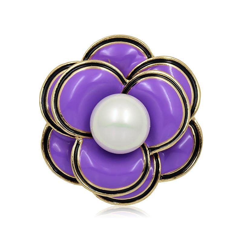 WEIMANJINGDIAN Brand Trendy Enamel Red Purple or White Flower Brooch Pins for Women Factory Direct Sale