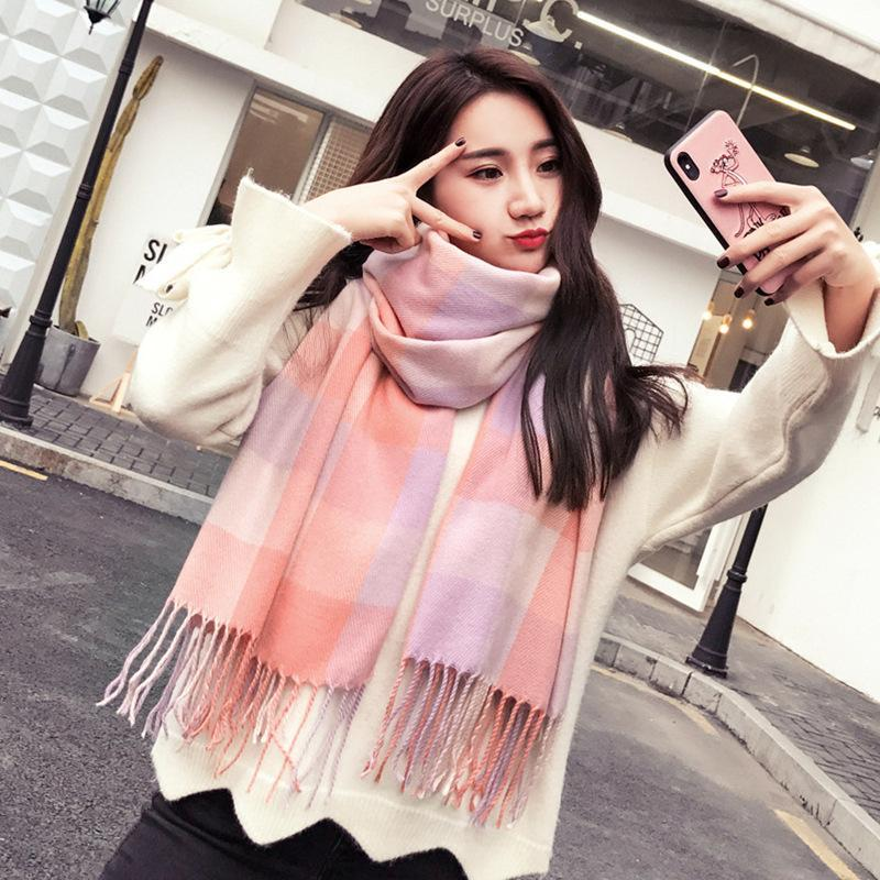 2019 New plaid scarf lady autumn and winter Korean version warm cashmere shawl thick long neck