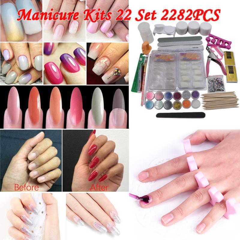 Meilleures ventes 2020 Produits Poudre Acrylique Glitter Nail Art Kit Conseils Faux ongles Art Décoration Outils à ongles soi