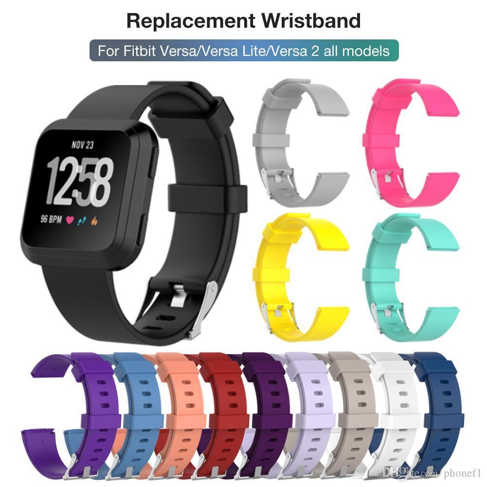 Substituição da faixa de relógio de silicone suave Assista bracelete Acessórios Para Fitbit Versa / Versa Lite / Versa 2 Acessórios Inteligente Banda