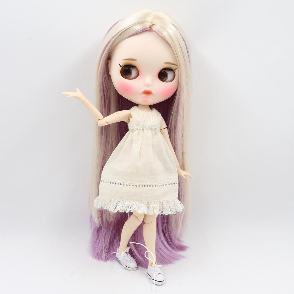 wholesale Blyth ICY Doll 30cm joint body mixed color straight hair matte face with eyebrows Lip gloss Neo bjd doll Gift toy