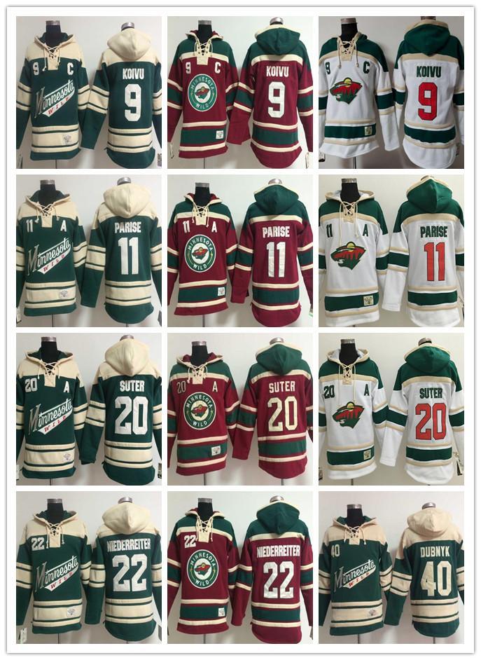 Chandails à capuchon pour hommes Chandails de hockey sauvage du Minnesota 9 Mikko Koivu 11 Zach Parise 40 Devan Dubnyk 22 Chandails à capuchon Nino Niederreiter