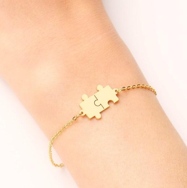 Joyería del contrato de DOTIFI pulsera de acero inoxidable para las mujeres del oro y de la plata del color del rompecabezas Pulseira Femenina amante