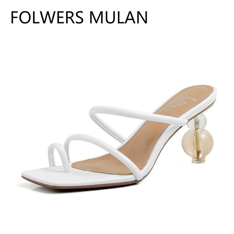 Sandalias Mujer 2020 Black White Narrow Band Leather Buckle Laides Shoes Beading Crystal Strange Heels Zapatos Summer Slides