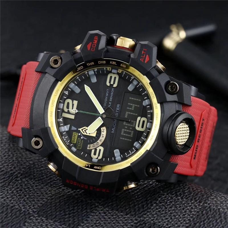 Pantalla de alta calidad para hombre del reloj del deporte del cuarzo Mudmaster-batería digital resistente al agua Todo Función de las luces GTG-1000 Reloj masculino