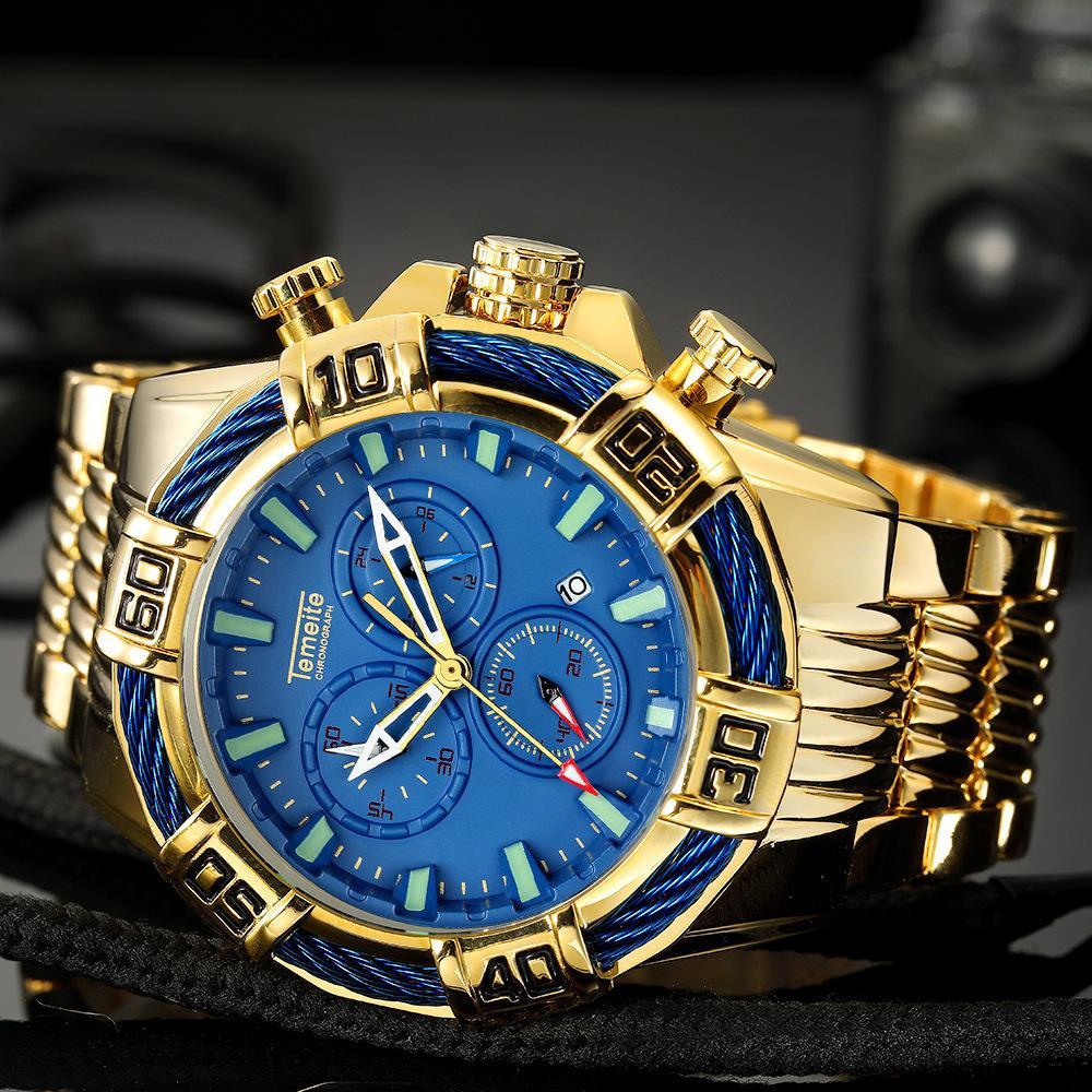 Temeite Nueva Multi-funcional del reloj para hombre de acero a prueba de agua reloj militar Wath