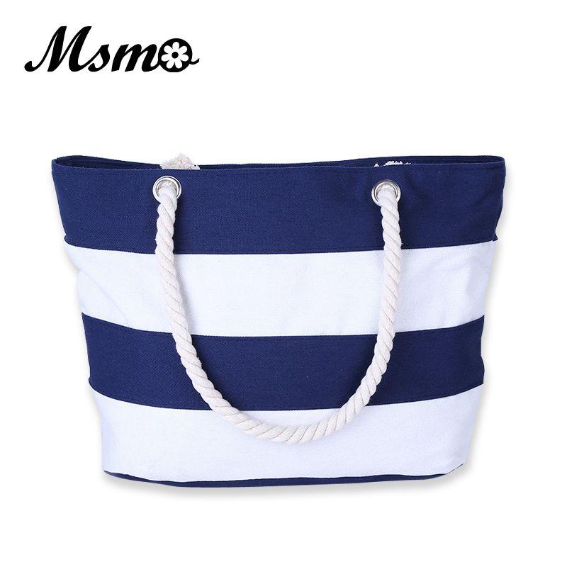 MSMO Women Beach Canvas Bag Fashion Color Stripes Printing Handbags Ladies Large Shoulder Bag Totes Casual Bolsa Shopping Bags Y190606