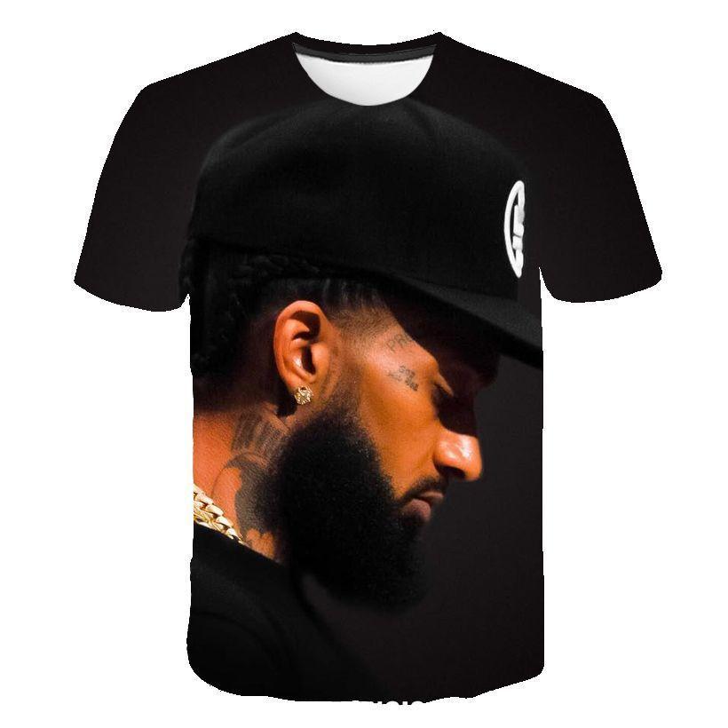 닙시 허슬 남성 디자이너 티셔츠 3D 디지털 짧은 소매 랩퍼 남성 O-넥 티셔츠 청소년 디자이너 의류