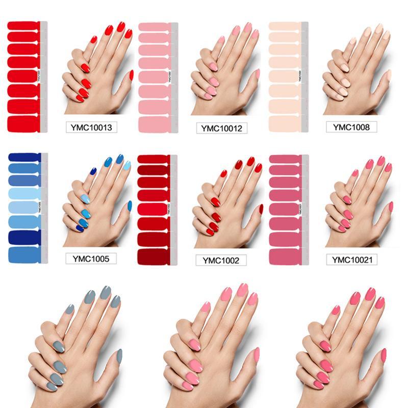 Pure chiodo di colore fai da te involucri Full Cover Nails Sticker arte della decorazione del manicure adesivo polacco Nails solido regalo di San Valentino a colori