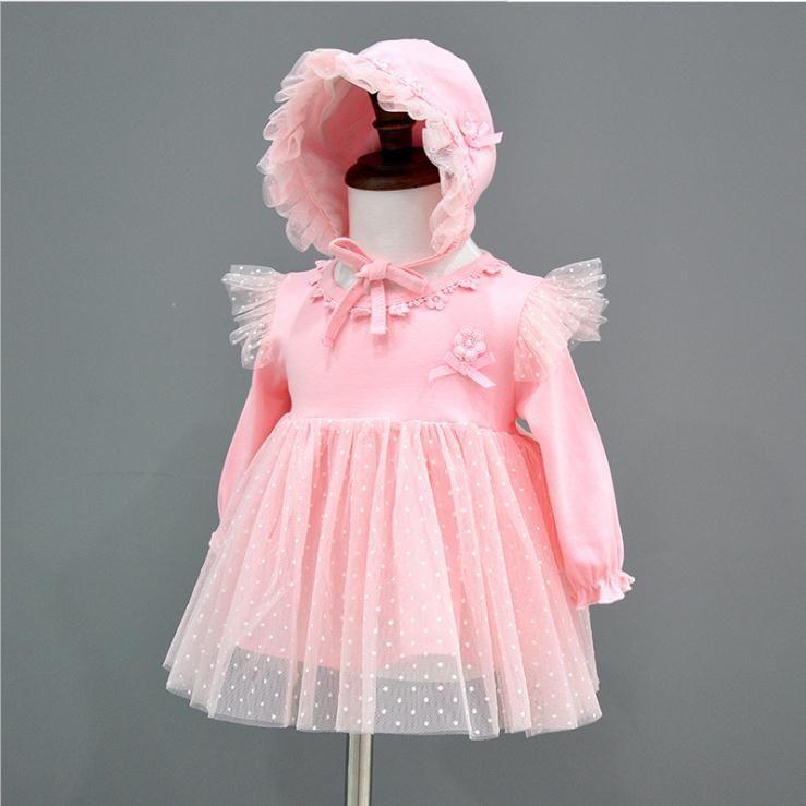 Vestido de bebé recién nacido Ropa de sombrero Vestidos de princesa Infantil Vestidos de bautizo hermosos Vestidos de bautismo para niña otoño