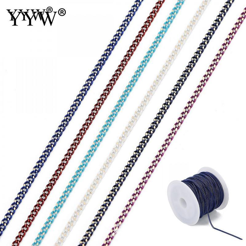 1.5mm 10 mètres / bobine chaîne en laiton pour les conclusions du corps Body DIY collier Femmes Charme Bracelet Making 15 Multi Couleurs Gourmette Chaîne