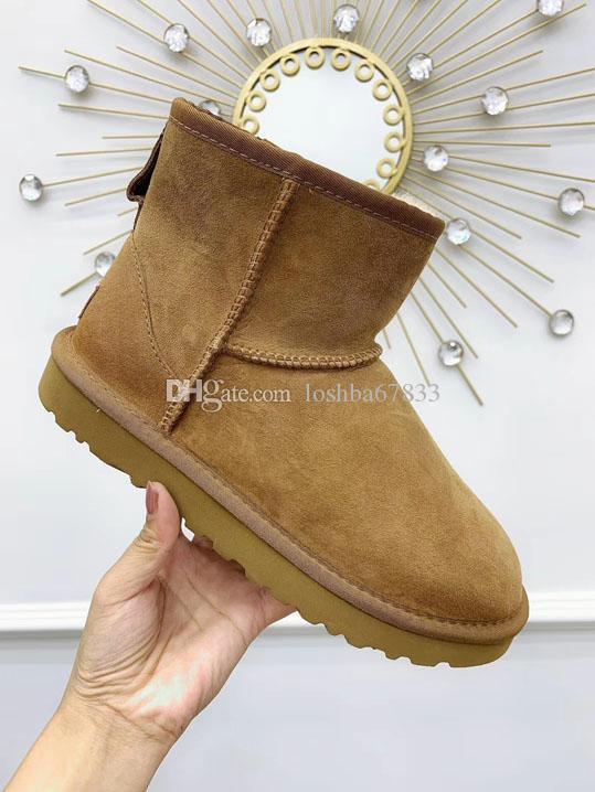 Nuevo otoño de entrega y de cuero de invierno lleno de diamantes integrados piel de oveja botas de lana de la bota del tobillo de los zapatos cálida lana de algodón zapatos de nieve Arranque de las mujeres