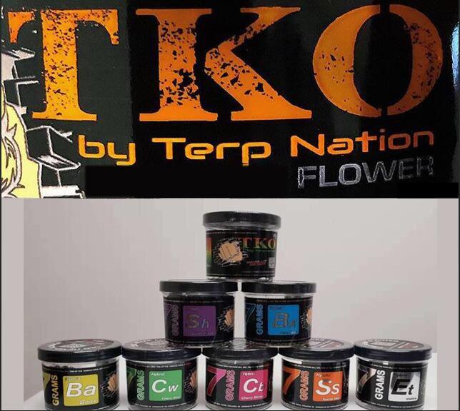 Lagerverkauf 7 Grams TKO von Terp Nation Blume Kunststoff-Gläser Hybird Kirsche weiß Special Sauce Cherry Blossom 7 Gramm plasitic Jar