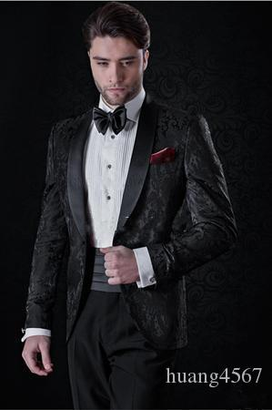 새로운 인기있는 한섬 원 버튼 블랙 패턴 웨딩 신랑 턱시도 어깨 걸이 옷깃 Groomsmen 남성 복장 댄스 파티 재킷 (자켓 + 바지 + 넥타이) 248