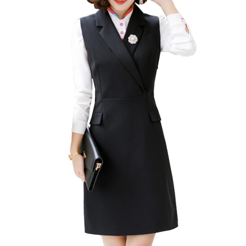 Abito da donna Abito da donna Elegante Business Work Formale Camicia da ufficio Abito manica lunga Ginocchio Lunghezza matita 2 pezzi Set S-4XL