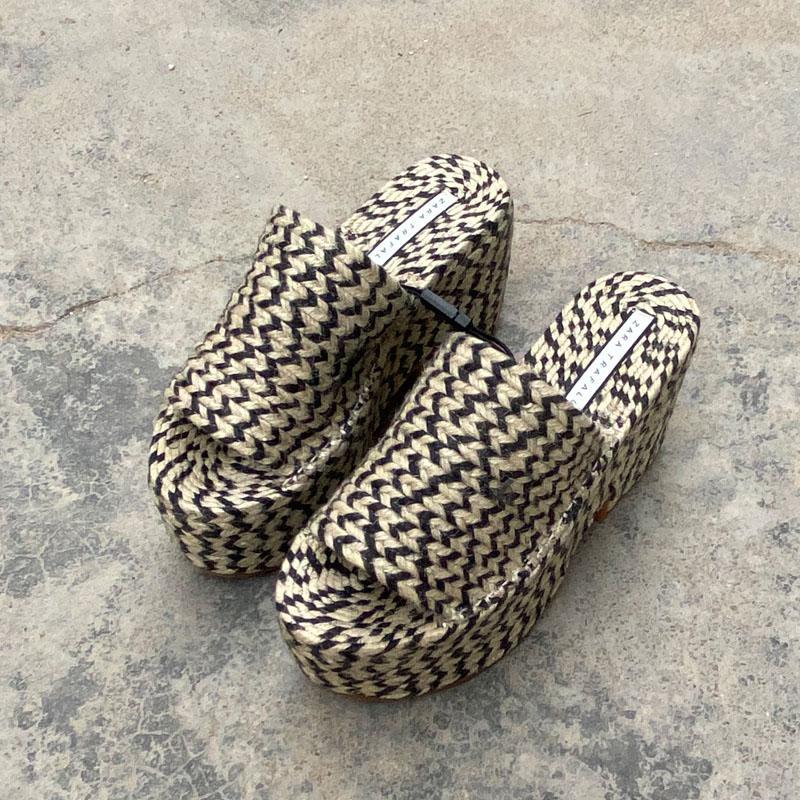 Keilabsatz Hausschuhe Frauen öffnen Toe Sandalen 9cm Sexy Lady-Plattform-Schuh-starke untere Woven Slides Chaussures Femmes Zapatos Muje