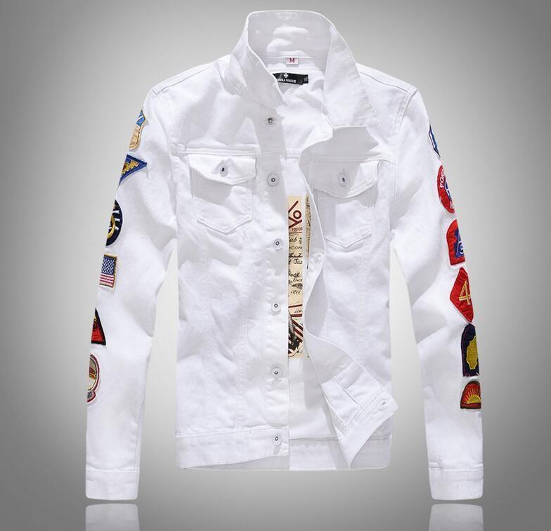 2019 ربيع جديد للرجال كم أكثر العلامات البيضاء الدنيم سترة تصميم الربيع سترة جان معاطف وحيد الصدر الحجم M-5XL