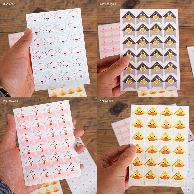 Albümler Dekor Karikatür 96 Adet DIY Sevimli Renkli Hayvanlar 4 Sheets Kırtasiye Köşe Kağıt Çıkartma Scrapbooking Fotoğraf Albümü