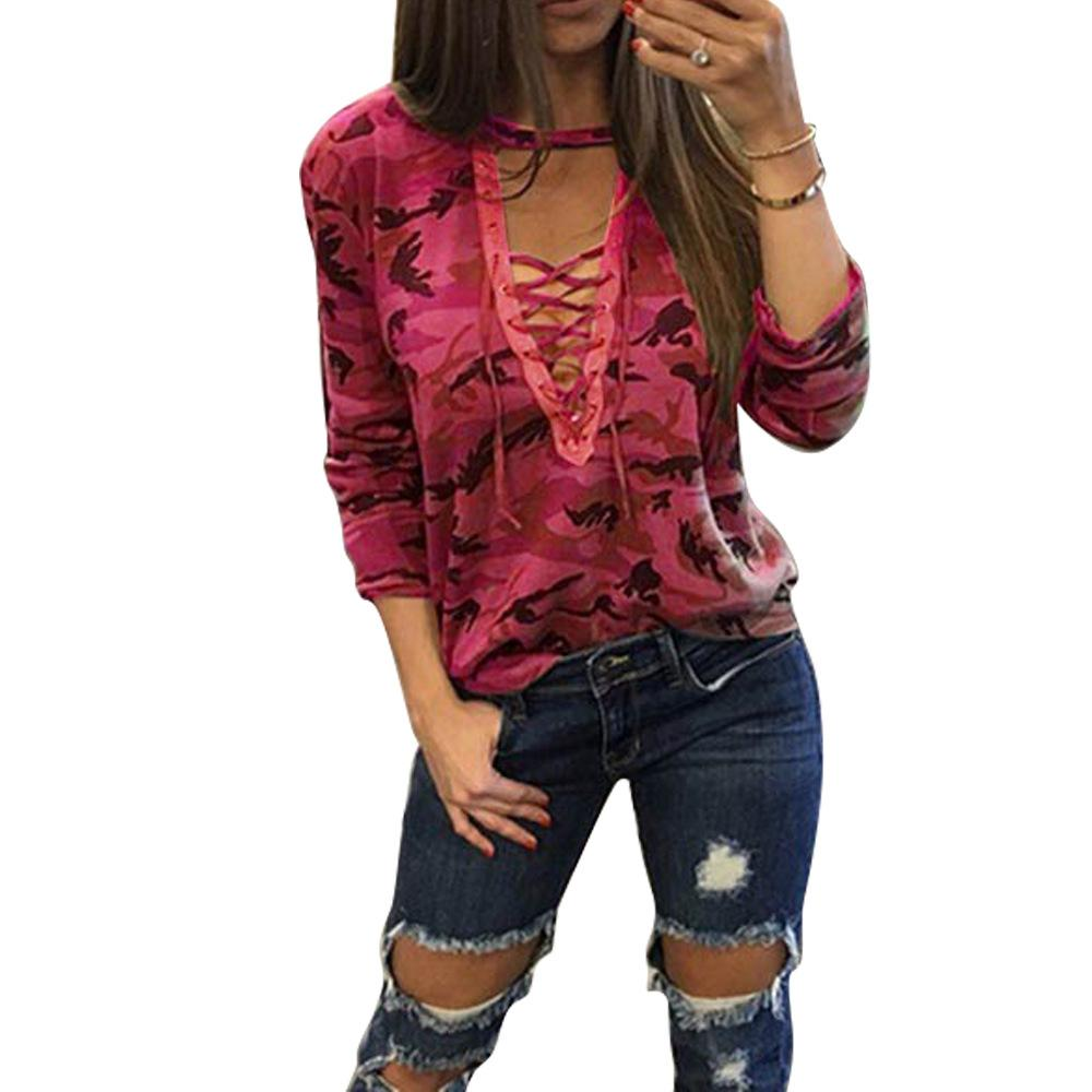 100pcs/lot Hot Camouflage T-shirts Low-breast Hollow-out Bandage Long-sleeved Women's T-shirts Casual Outdoor Loose Wear S-XL HTS165