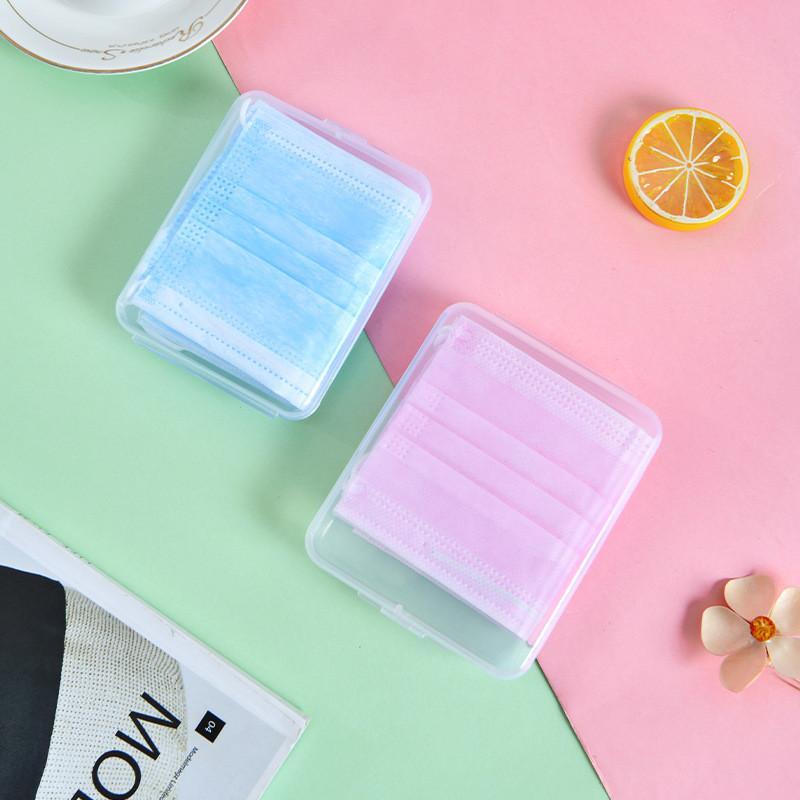 Transparent Einweg-Gesichtsmasken Staubdichtes Aufbewahrungsbehälter-Maske temporärer Ordner Clip Lagercontainer Gerät Schnelle Lieferung