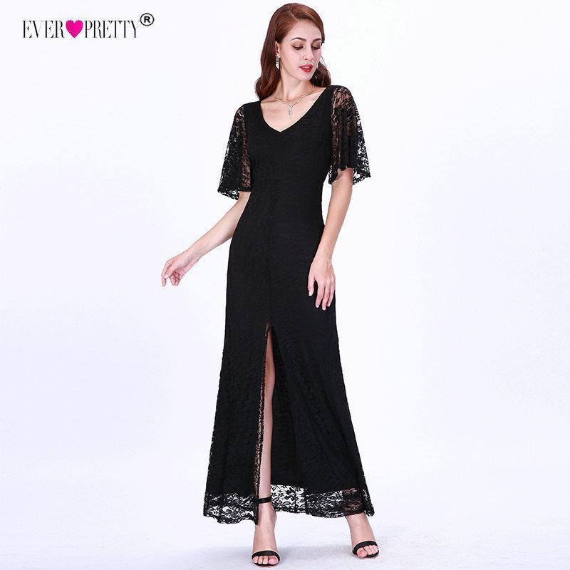Elegante sirena vestidos de noche largo bastante sexy con cuello en v Split manga flare encaje negro vestido formal mujeres T190606