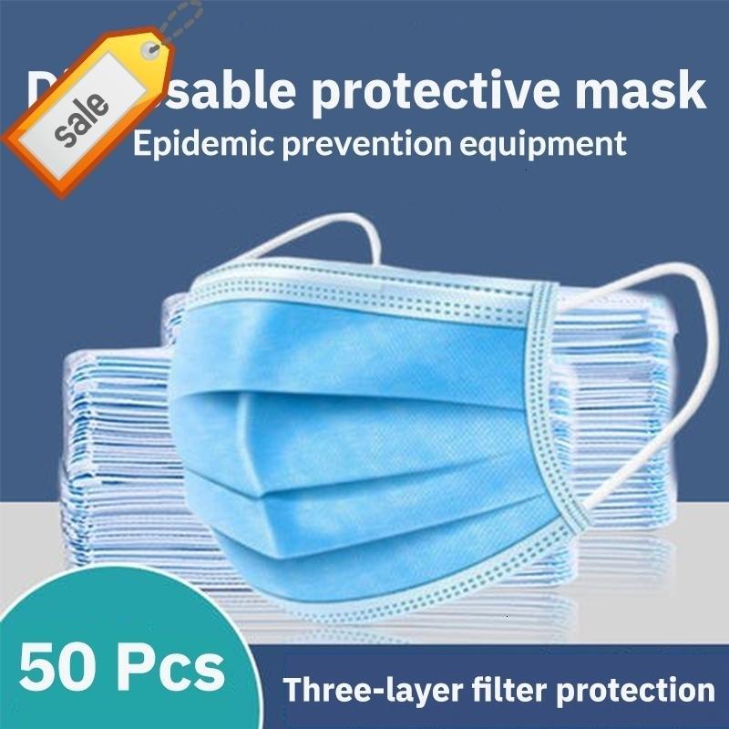 wLvKc 50 piezas desechables Hombres a prueba de polvo Boca Anti PM2.5 Cuidado Seguridad paño elástico de las mujeres de la cara 3-capa y máscara máscaras