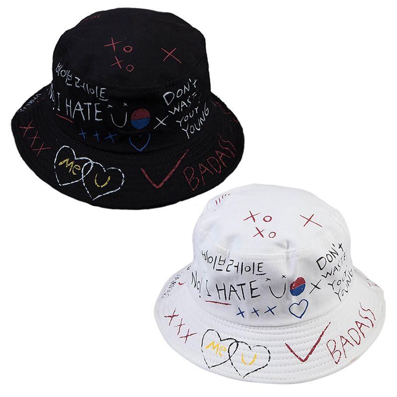 Sombrero de pescador ocasional de la manera salvaje visera marea personalidad femenina calle de graffiti sombrero olla pintada negro sombrero blanco