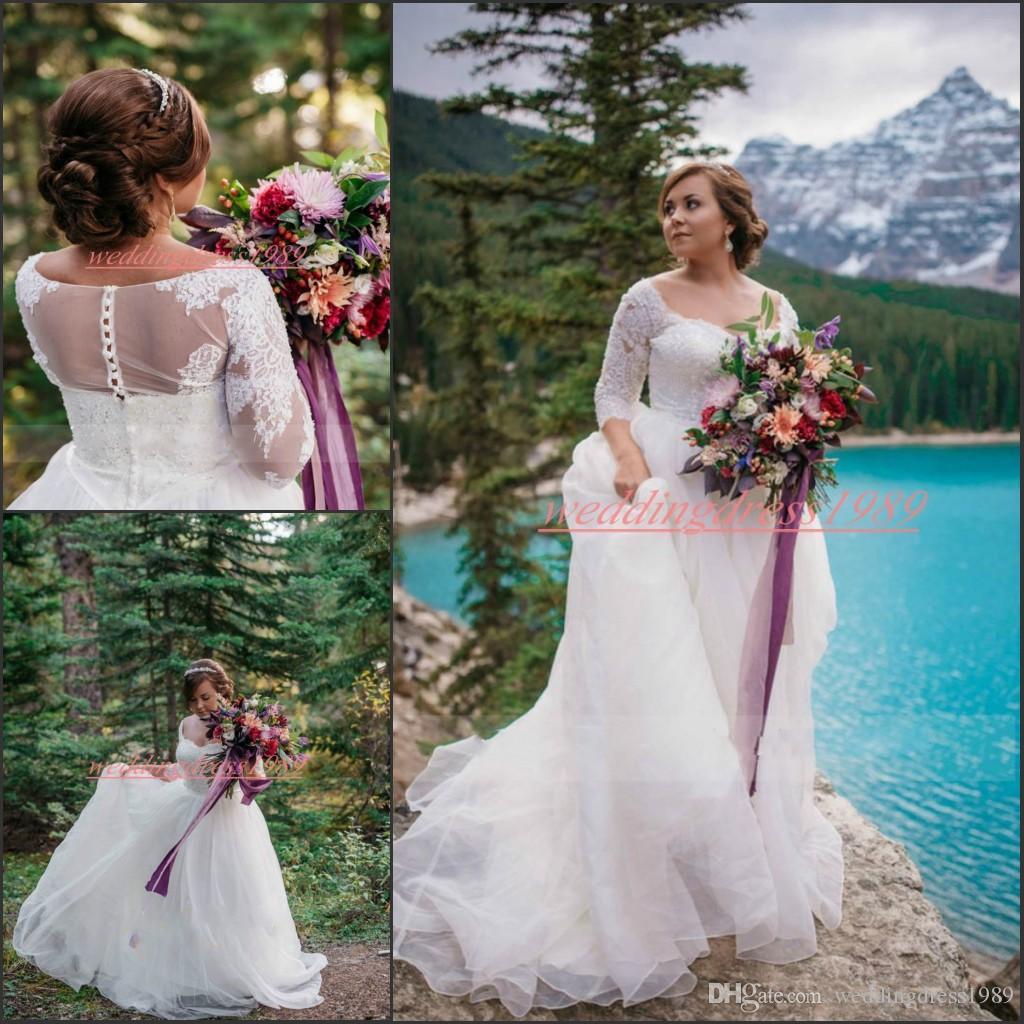 Elegante Halbarm Sheer Brautkleider mit Spitze applique A-Line Brautkleid Plus Size Vestido de novia Arabisch Tüll Braut Ball Formal