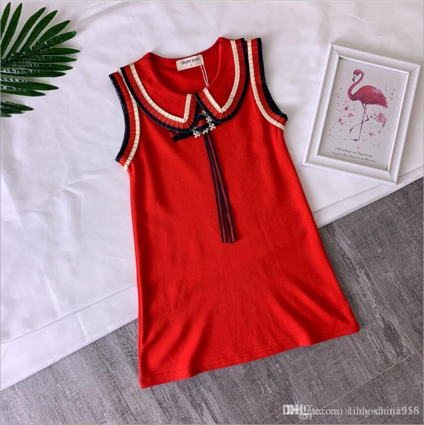 Les filles arc robe gilet jupe bébé en coton Un mot jupe Slim luxe qualité robe robe de mariée princesse