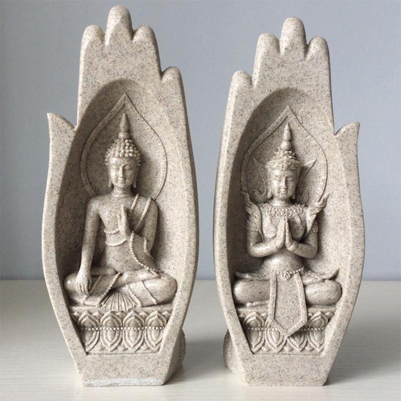 2Pcs Hands Sculptures Buddha Statue Monk Figurine Tathagata India Yoga Home Decoration Accessories Ornaments Dropshipping T200619