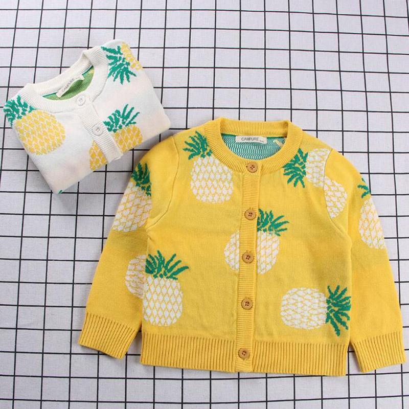 Printemps filles Cardigans Pull d'enfants Pineapple Imprimer tout-petits Cardigan Coton Garçons Pulls Filles Vêtements boutonnage simple
