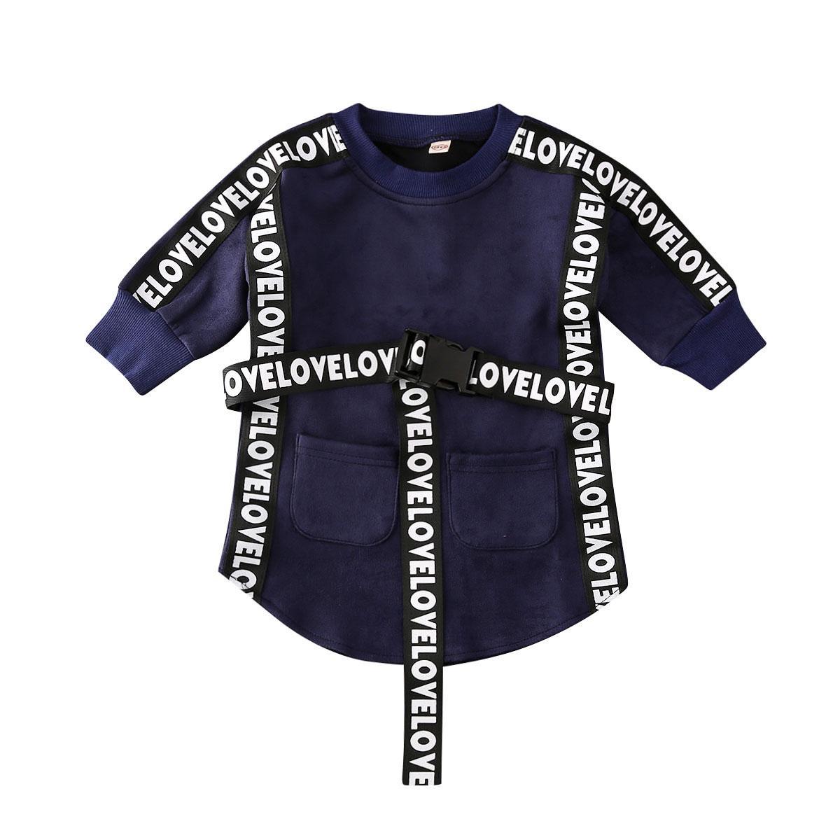 Imcute 2020 Kinder Baby-Kleidung Langarm-Sweatshirt Gerade Kleid mit Gürtel Herbst Säuglingskleinkind-Freizeit-Outfits 1-5T
