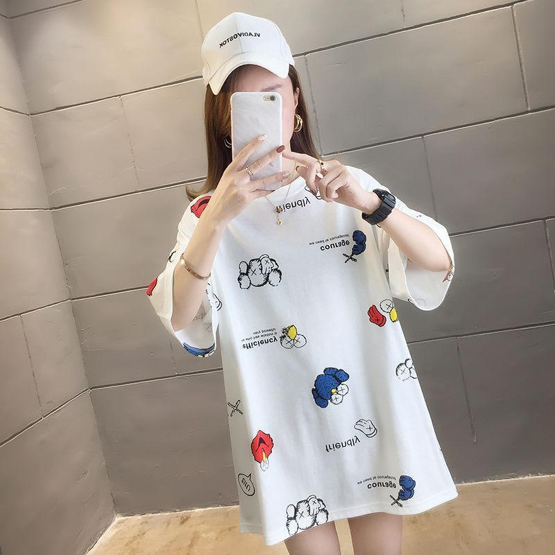 Damen T-Shirts beiläufige Harajuku koreanische Karikatur druckte Spitzen T-Sommer-Frau Kurzarm T-Shirt für Frauen Kleidung JX0919