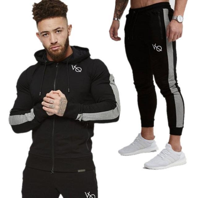 2018 رجل يضبط كم الأزياء طويل نحيف الرجال بذلات رياضية هوديس البلوز اثنين بنطلون قطعة الرجال سترة + سروال تجلط الرجال
