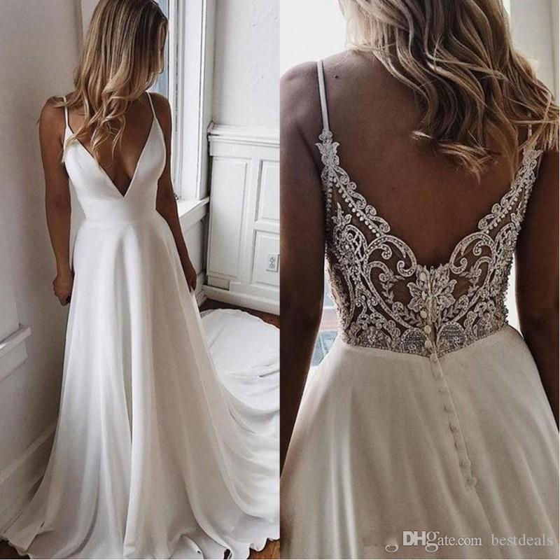2020 Simple V Neck A Line Boho Beach Wedding Dresses Elegant Beaded Applique Satin Bridal Gowns Cheap Custom Bride Dress Vestidos De Novia
