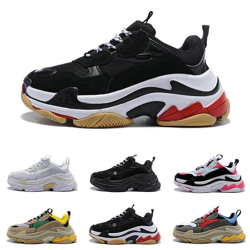 Balenciaga Triple-S shoes Luxury Brand مصمم الأزياء باريس FW Triple-S 2018 تريبل اس حذاء ديسي فاخر أبي أحذية للرجال والنساء بيج أسود الاحذية 36-45