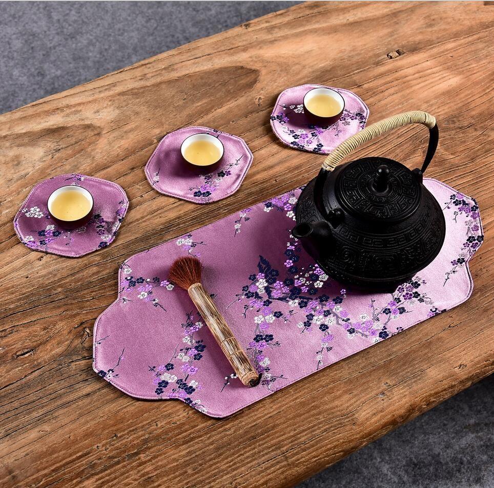 Traditional Chinese Tea mats imitation Yunjin brocade linen small table flag cloth towel tea coaster dry foam pot pot tea tray