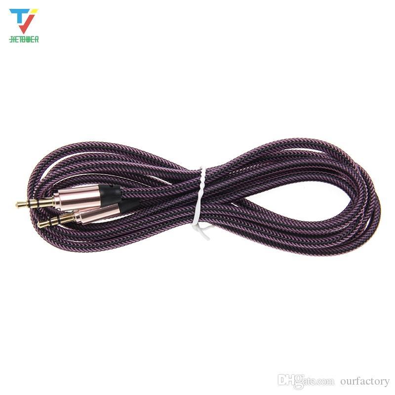 3.5 Jack Aux Cable 3.5mm Cavo audio a rete per auto 1.8M Jack placcato oro maschio a maschio cavi per altoparlante per cuffie 50 pz / lotto