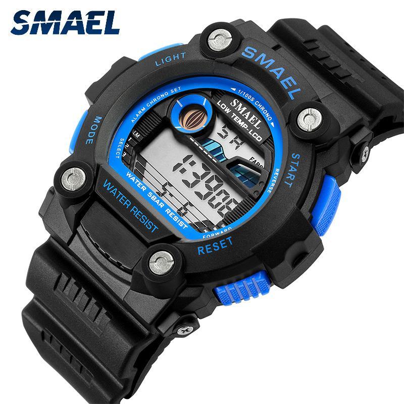 SMAEL автоматический спортивные мужские часы топ бренда класса люкс 50m водонепроницаемый цифровые наручные часы для мужчины 1423Led мужчин Повседневный цифровые часы