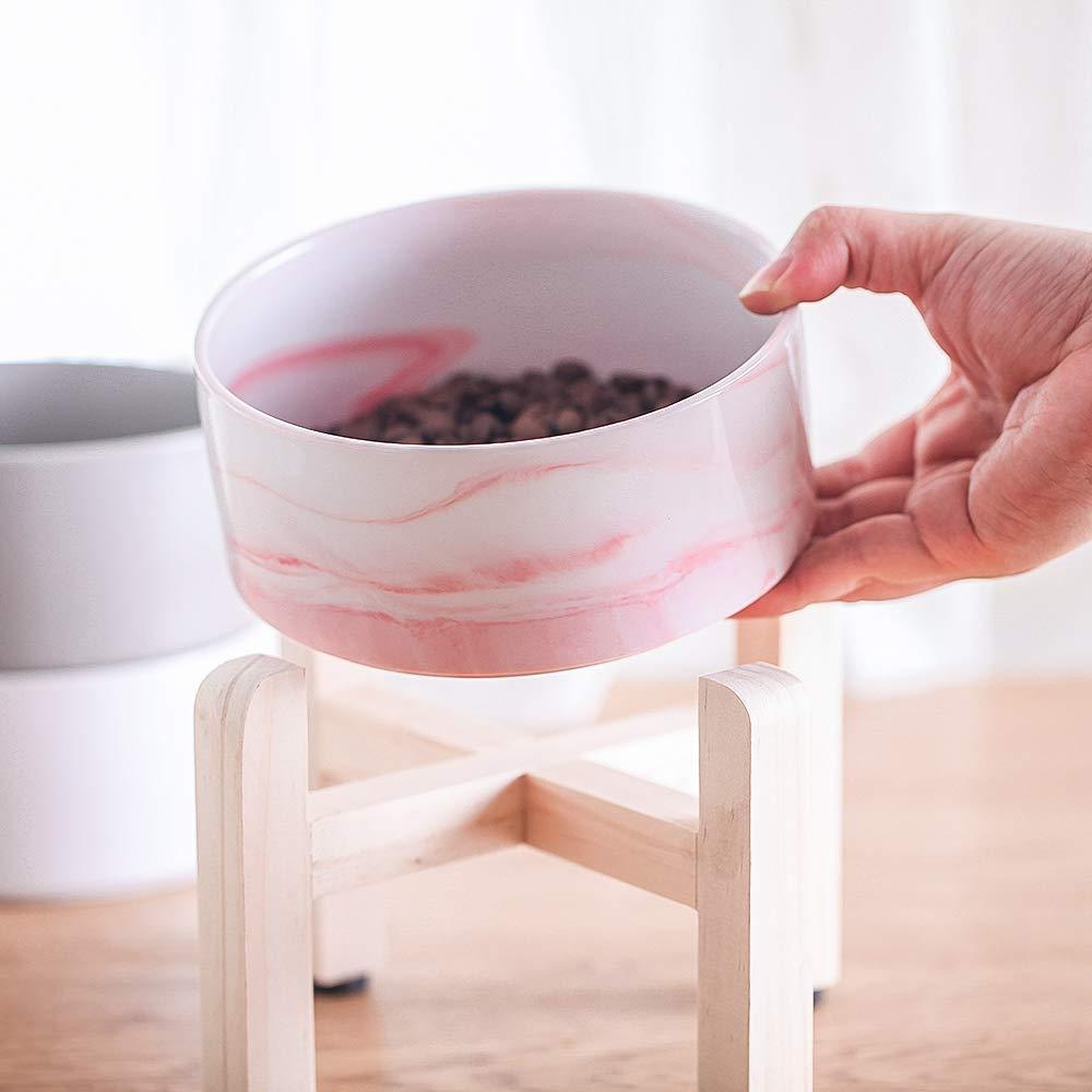 Keramik Erhöhte Raised Katzennapf mit Holz Stand-Nr Spill Pet Food Wasser Feeder Katzen kleine Hunde