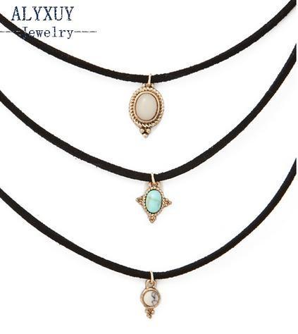 Новая мода ювелирные изделия кожа синий камень колье ожерелье комплект 1 компл. =3 шт. подарок для женщин девушка N1779