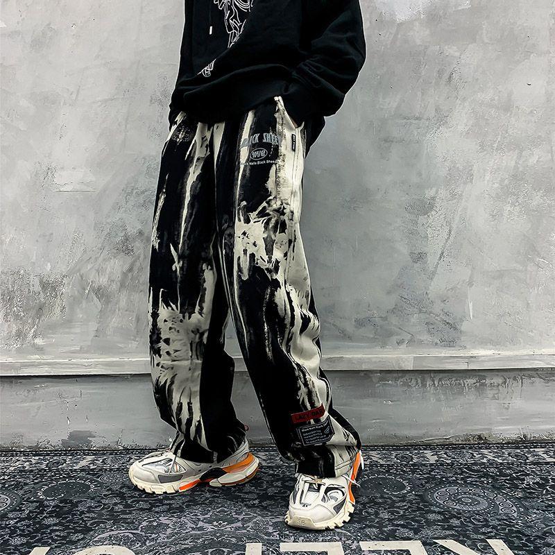 Kravat Die Gevşek Casual Pantalones Erkek Pantolon Streetwear Erkekler ve Kadınlar Baggy eşofman altı Artı boyutu Mens Sweatpants