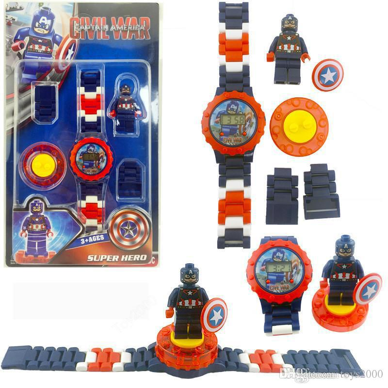 Super hero Watches DC Marvel Avengers Action Figure Toys Cartoon Building Block Watch for kids toys Christmas Gift With Box Package 65 X2221