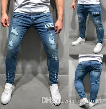 Yeni Mavi Denim Jeans Erkek Giyim XXX Nakış Tasarım Uzun Kalem Pantolon Giyim Ripped