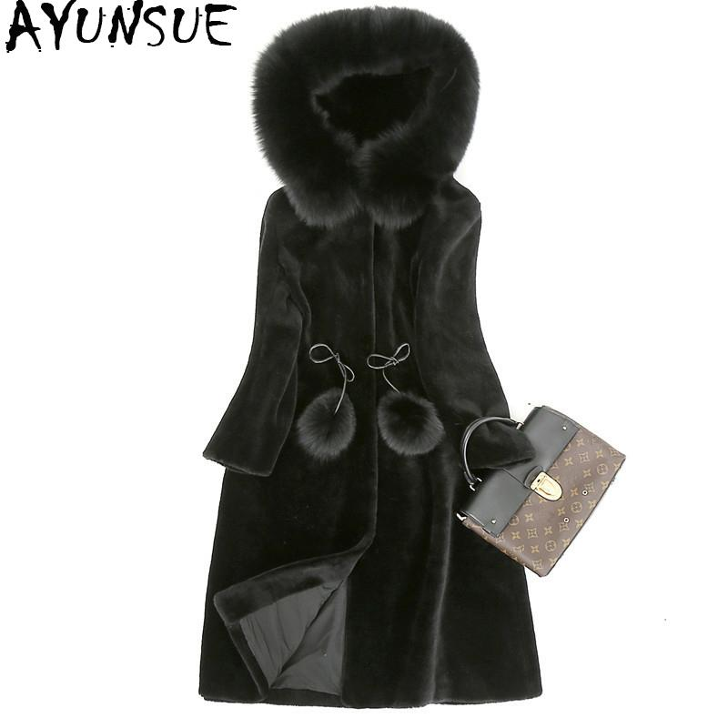 AYUNSUE Real Fur Coat Female Natural Sheep Shoring Overcot With Genuine Fur Collar Hooded Winter Jacket Women WYQ835