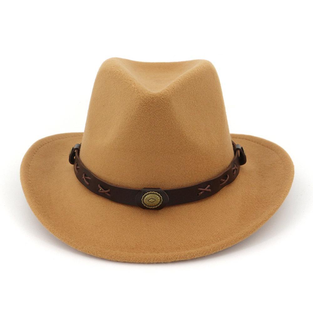 Women Man Wool Felt Western Cowboy Hats Wide Brim Jazz Fedora Trilby Cap Panama Style Carnival Hat Floppy Cloche Cap